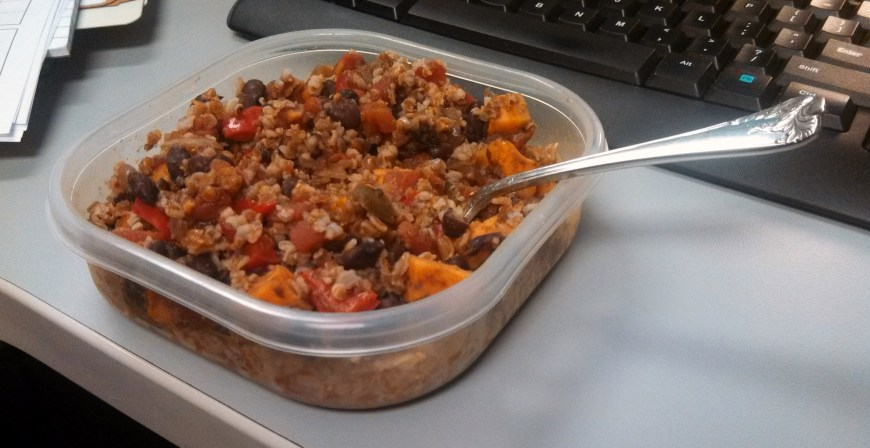 The only picture of this meal.  Leftovers for lunch.  In my cubicle.  It's how I roll.