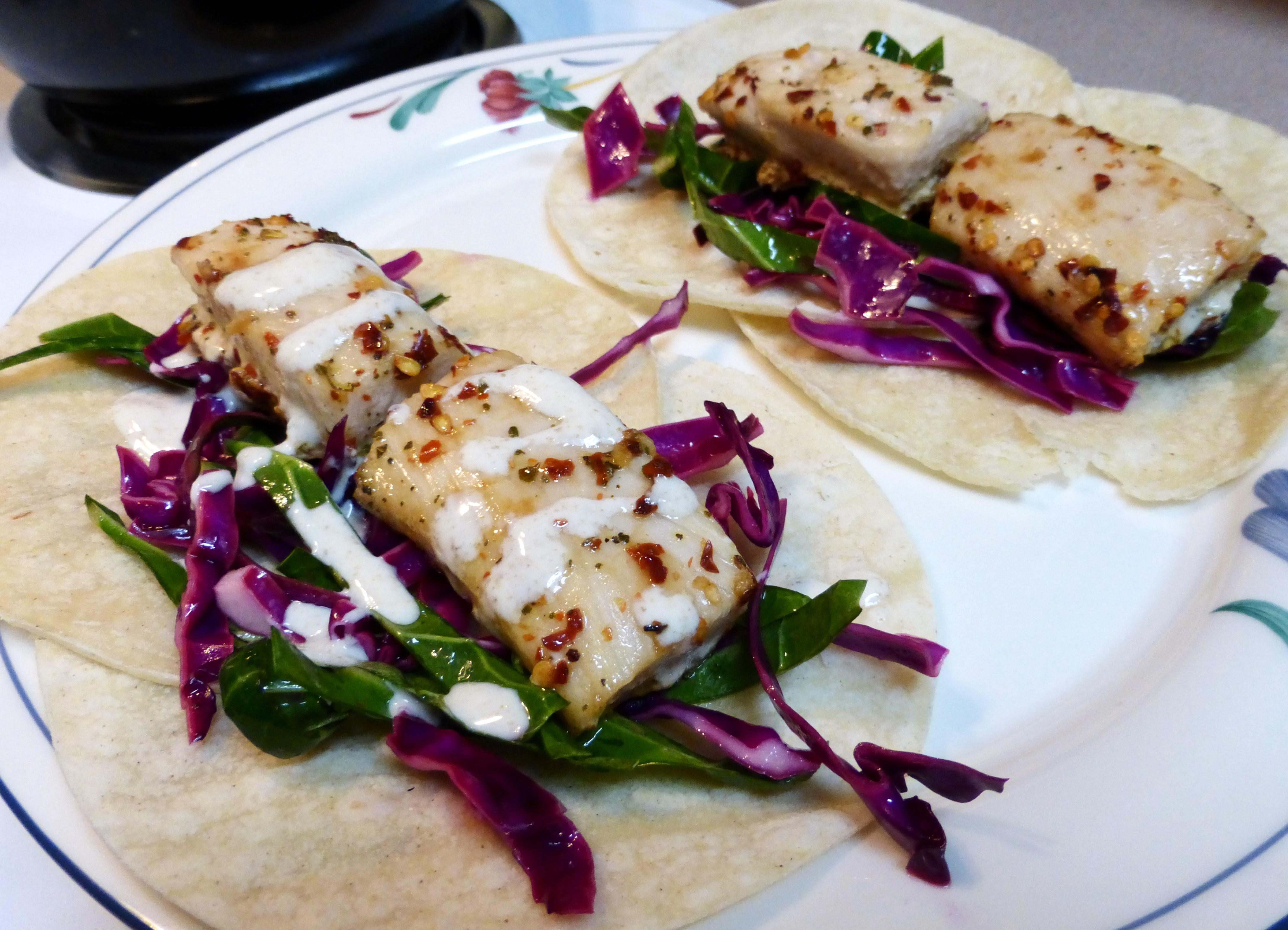 Fish tacos with collard slaw and cumin lime yogurt sauce for Fish taco sauce yogurt