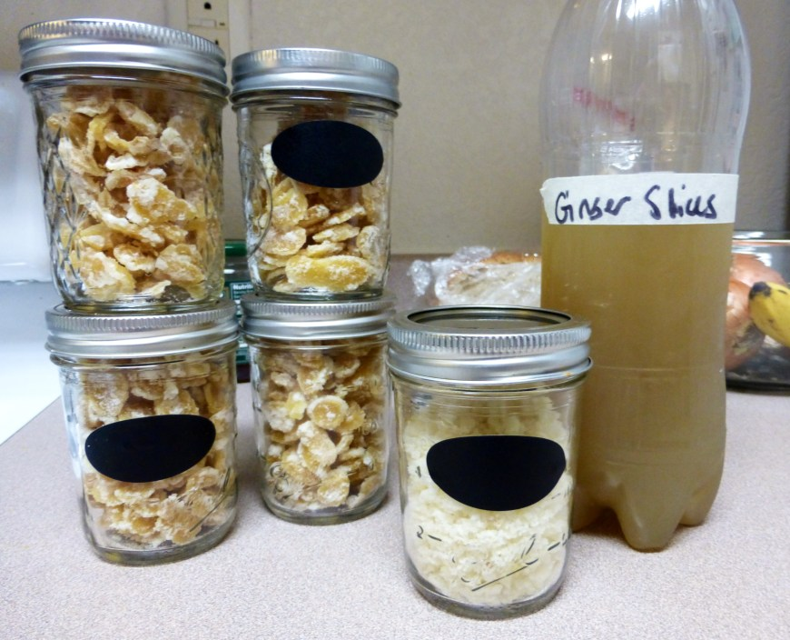 4 cups of candied ginger, 1/2 cup ginger sugar, and 1/2 L ginger water