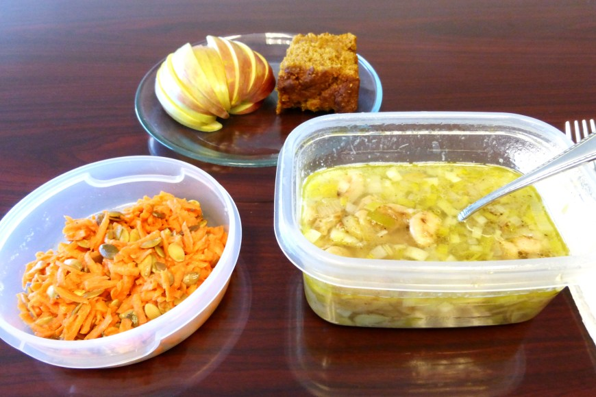 Okay, so this is my lunch of leftovers at work on Monday.  Because I didn't get pictures during our actual lunch.  Also, I ate in the conference room; that in no way resembles my actual desk.